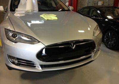 Silver Tesla with PPF on hood